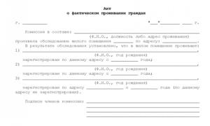 Акт о фактическом проживании граждан: образец, бланк