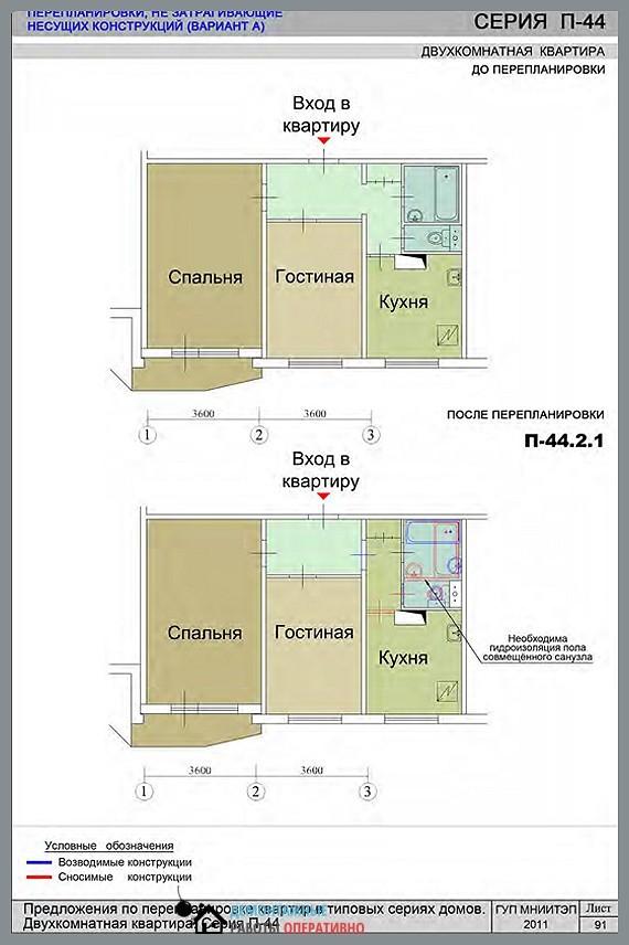 Перепланировка в квартире серии П-44 по закону