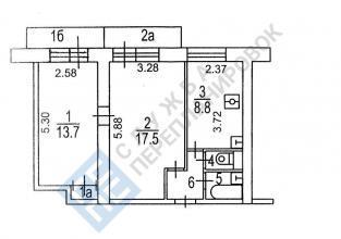 Перепланировка в двухкомнатной квартире в доме серии И-209А