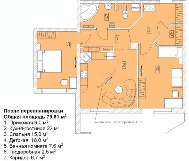Объединение кухни и комнаты при перепланировке квартиры