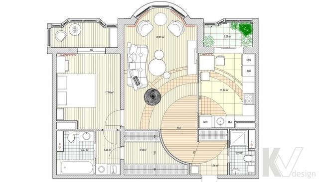 Согласование перепланировки двухкомнатной квартиры в доме серии И-155