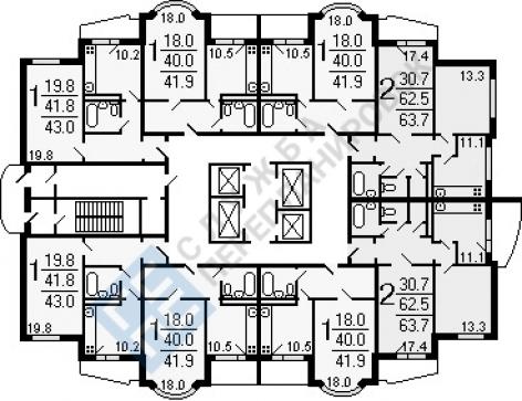 Объединение двух однокомнатных квартир И-155
