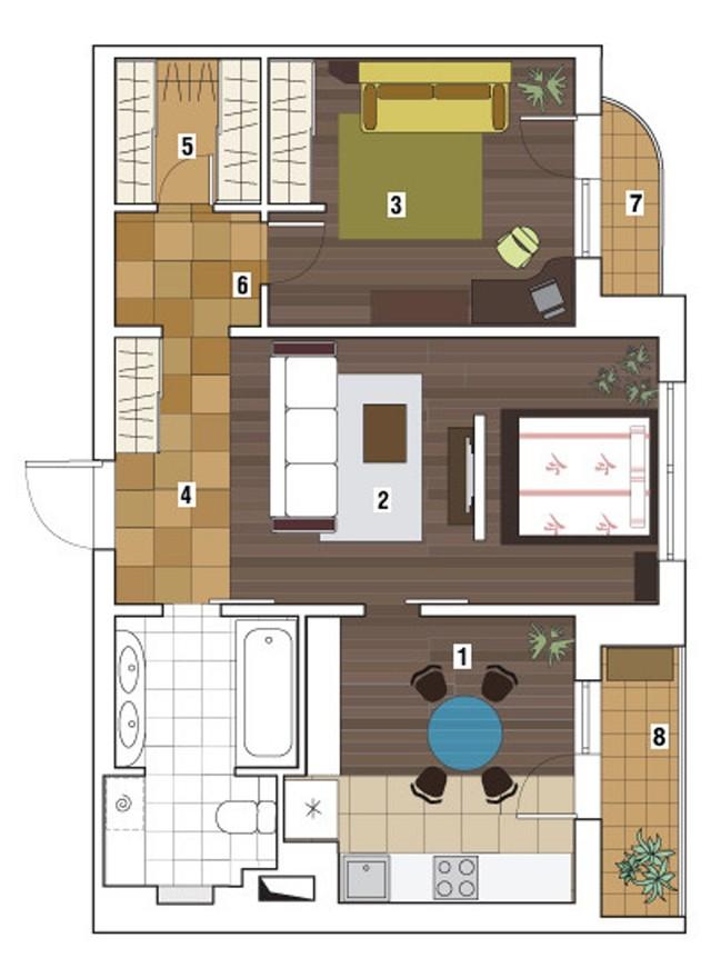Перепланировка двухкомнатной квартиры в доме серии П-3
