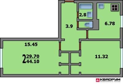 Увеличение кухни в двушке в доме серии 1-511 при перепланировке