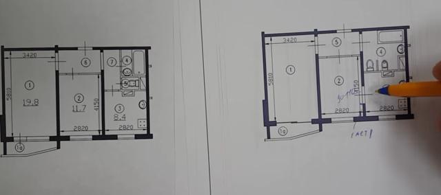Перепланировка двухкомнатной квартиры П-44, часть 1