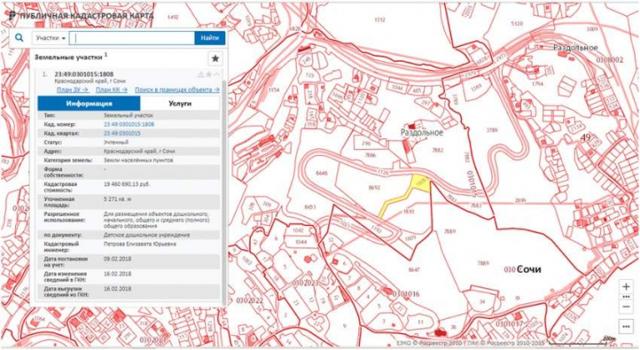 План земельного участка по кадастровому номеру